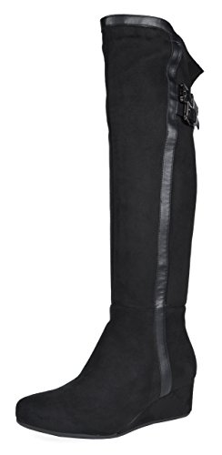 (DREAM PAIRS Women's Bailee Black Low Wedge Heel Over The Knee Winter Boots Size 8 M US)