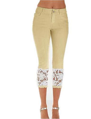 YFLTZ Pantalon Basic Jeans pour Femme - Dentelle de Couleur Unie Khaki