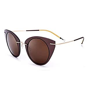LUKEEXIN Cat Eyes Design Women's Polarized Sunglasses Nylon Frame TAC Lens UV Protection Sunglasses for Driving Vacation Beach Outdoor Sunglasses (Color : Coffee)