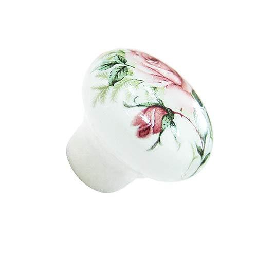 Blockstool Vintage Ceramic Flower Roses Drawer Pull Knobs, Pack of 8 (30mm, White)