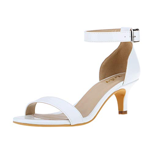 (ZriEy Women Sexy Open Toe Ankle Straps Low Heel Sandals White Size 7.5)