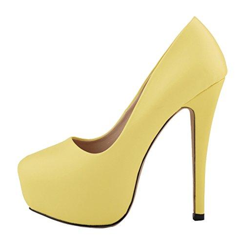 Women's Fashion Round Toe Stiletto Slip On Platform Pumps High Heels Shoes s yellow soft pu AhHlM87IU0