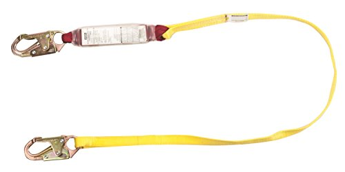(MSA Safety SWL4068704LS Web Single Type Shock-Absorbing Lanyard with LS Snap Hook and Harness Anchor Connection, Material Nylon, CSA, 4' Length)