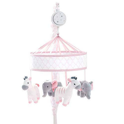 Just Born Dream Musical Mobile, Pink, Grey Giraffe, Elephant, One - Mobile Dreams Crib
