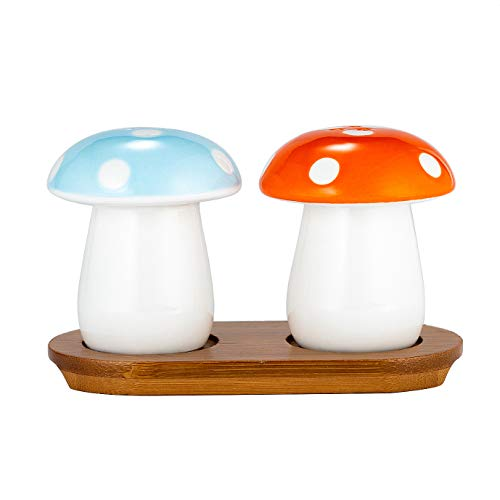Xena 3 Piece Cute Retro Ceramic Mushroom Salt and Pepper Shaker Bamboo Base Set, 3 x 5 Inch Seasoning All Natural Eco Friendly Novelty Red Blue White Gift Present Utensil Kitchen Decor