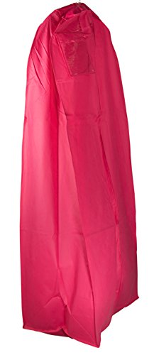 """Gusseted Gown Garment Bag for Women's Prom and Bridal Wedding Dresses - Travel Folding Loop, ID Window- 72"""" x 24"""" with 20"""" Tapered Gusset - Hot Pink - by Your Bags"""