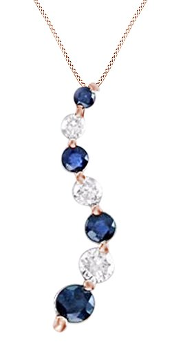 White Natural Diamond & Simulated Blue Sapphire Journey Pendant Necklace in 14K Rose (Sapphire Journey Necklace)
