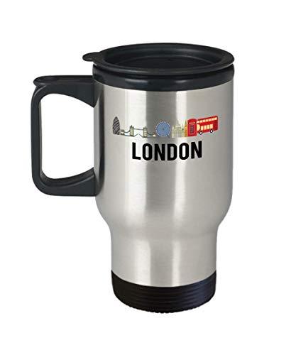 London Flag Travel Coffee Mug Funny Gifts - London England Hometown Pride, Travel, Souvenir, Vintage, English, UK, London Flag Cup Tumbler