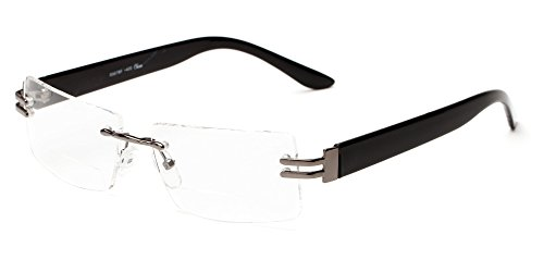 Readers.com The Politician Bifocal Grey and Black Frameless with Bifocal Lenses & Metal Temples Rectangle Reading (Rimless Bifocal Reading Glasses)