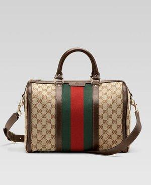 Gucci Web Boston Bag Size Small Brown