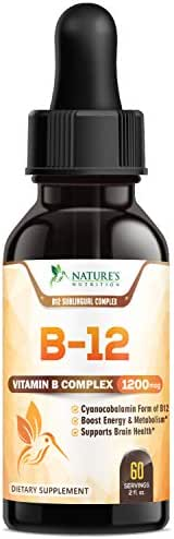B12 Vitamin Sublingual Drops for Weight Loss 1200mcg - B12 Complex Designed to Boost Energy Levels & Metabolism, Enhance Mood, Sharpen Focus, Fast Absorption Liquid - Gluten Free - 2 oz