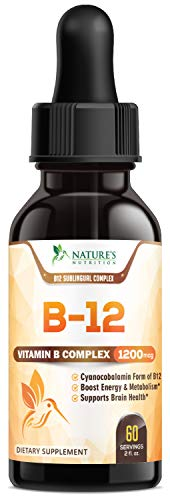 B12 Vitamin Sublingual Drops for Weight Loss 1200mcg - B12 Complex Designed to Boost Energy Levels & Metabolism, Enhance Mood, Sharpen Focus, Fast Absorption Liquid - Vegan, Gluten & Non-GMO - 2 oz