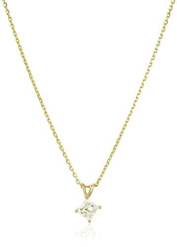 (14k Yellow Gold Princess-Cut Diamond Solitaire Pendant Necklace (1/2cttw, H-I Color, I1-I2 Clarity), 18