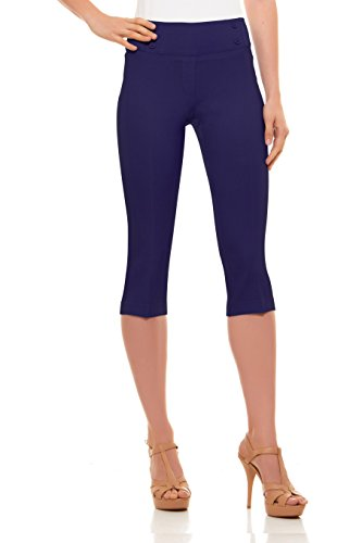 - Velucci Womens Classic Fit Capri Pants - Comfortable Pull On Style with Detailed Design, Plum-XL