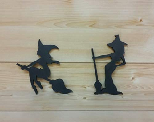Halloween Witches - Wooden Black Witches - Witch Silhouettes - Witch with Broomstick - Wooden Witch Cut-Outs - Halloween Decor - Witch Decor - Wiccan Decor ()
