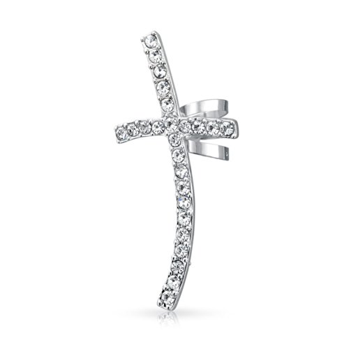 Large Fashion Cartilage Cross Left Ear Cuff Wrap Clip Crystal Pave Climber Crawler Lobe Helix Earrings Stainless - Cross Cuff Crystal