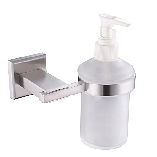 Angle Simple Wall Mount Soap Dispenser with Holder, SUS304 Stainless Steel Liquid Soap Dispenser Hanger, Glass Dish Soap Container, Liquid Detergent Shampoo Lotion Dispenser Bottle, Brushed - Glass Dish Soap Classic