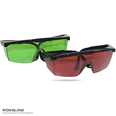 Laser Enhancement Glasses - WOKELINE Adjustable Eye Protection Safety Glasses for Red&Green Alignment, Cross & Multi Line and Rotary Lasers with Anti Lost Function