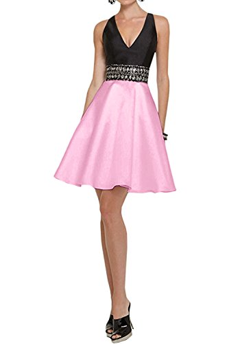 DressyMe Women's Cheap Short Prom Party Ball Dress Open Back V-Neck Rhinestones-6-Pink ()