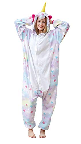 Adult Onesies Animal Pajamas Cosplay Costume One Piece Christmas Halloween Sleepwear for Women Teeens (Star,Medium) ()