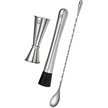 "Think Home Art -Three-Piece Bar Set — Double Cocktail Stainless Steel Bar Measuring Jigger Set 1 & 2 Ounce — Drink Muddler Tool — 11"" Bartending Mixing Spoon — FREE EBook  How To Make Yummy Cocktails"