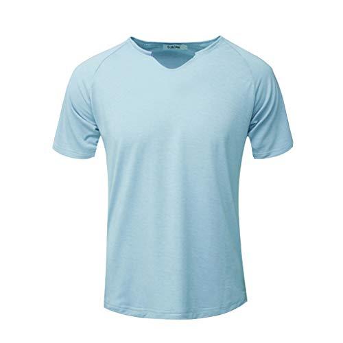 Stoota Fashion Sport Tops Men,Short Sleeve Solid-Comfortable-Casual-Slim T-Shirt Light Blue