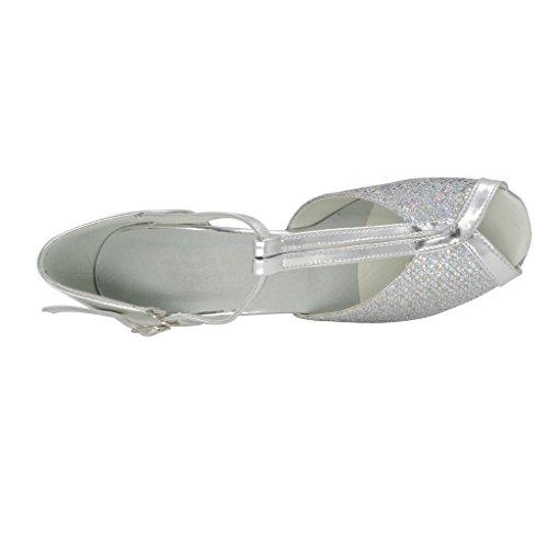 misu , Damen Tanzschuhe Silber silber
