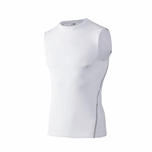 Maoko Men's Compression Sleeveless Baselayer Workout Tank Top Shirt White