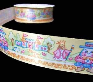5 Yds Baby Nursery Rhymes Humpty Dumpty Storybook Satin Ribbon 1 1/2