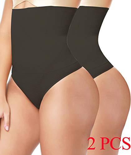 d5ed1281a4 NINGMI 2-Pack Women s Shapewear Thong Brief Seamless Hi-Waist Tummy Control  Panty