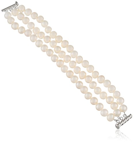 Sterling Silver 3-Row White Freshwater Cultured A Quality Pearl Bracelet 8.5-9mm), 7.25