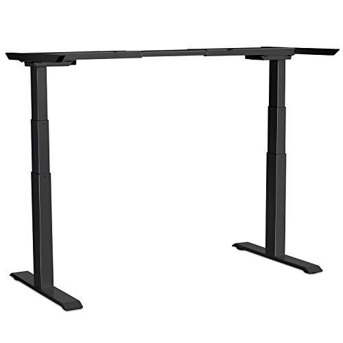 Electric Stand up Desk Frame - EleTab Dual Motor Height Adjustable Ergonomic Sit Stand Desk Base Workstation with 3 Stage up Lifting Legs (Black Frame only)