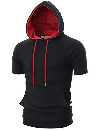 (OHOO Mens Slim Fit Short Sleeve Lightweight Raglan Zip-up Two-Tone Hoodie with Kanga Pocket/DCF053-BLACK/RED-M)
