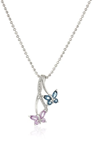 Sterling Silver Blue Topaz, Pink Sapphire and Diamond Double Butterfly Pendant Necklace, (Butterfly Pink Sapphire Pendant)