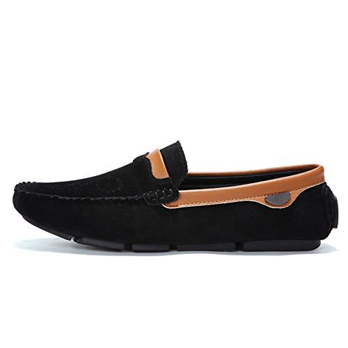 de para Grabado Zapatos EU Negro Mocasines Casuales Cuero tamaño Color de Hombres amplios Barco 41 Floral en pie Deslizamiento Ligero Grabado Caqui Ofgcfbvxd más Mocasines Fy5YqIwx4