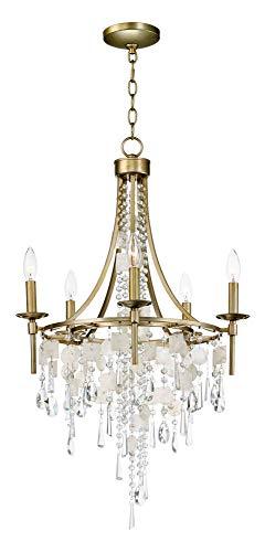 - Maxim Lighting 14425CZGS Cebu Chandelier, Capiz/Gold Silver