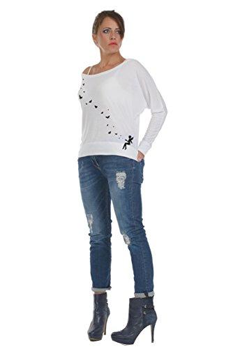 Dames Papillon Pull haut Lâches Blanc Femme souris chemise Col chauve À De Noir Longues Bateau Over Manches Tunique Imprime Elf 3elfen 1d6Caxwq1