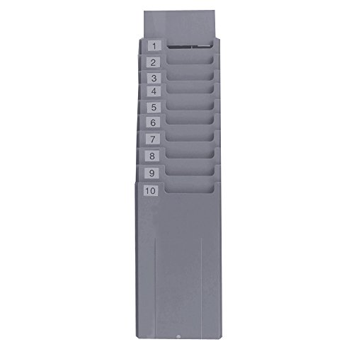 NATAMO Retractable Time Cards Rack with 10-Pocket,Plastic Wall Mounted Cards (Employee Time Card Machine)