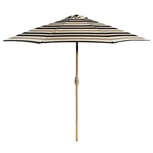 9' Black/Tan/Lime Patterned Crank/Tilt Market Umbrella ()