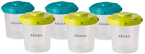 BÉABA - Set of 6 Baby Food Storage Container - Stackable and clippable pots - 100% Airtight with Measurement indication - Freezer safe - 6x200ml - Blue/Yellow