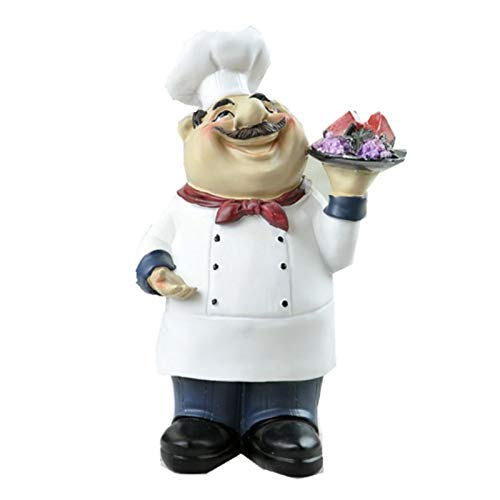Homodic French Chef Figurine Cook Chef Collectible Statues with 4 Various Shape for Counter Top Restaurant Cafe Style 4 (Chefs Figurines French)