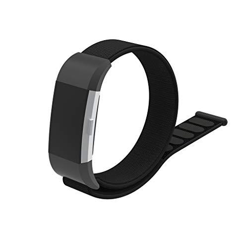 iTerk para Fitbit Charge 2 Bandas, Tela de Nailon con Cierre de Velcro, Correa de muñeca con Conector de Metal, Ajustable,...