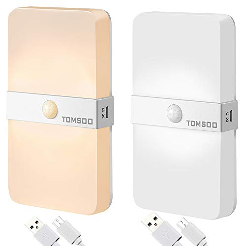 TOMSOO Rechargeable LED Motion Sensor Light, 12-LED Warm & Cool White Color Changed Motion Activated Night Light - Wireless, Portable Stick-Anywhere for Hallways/Stairs/Closet/Bathroom(2 ()
