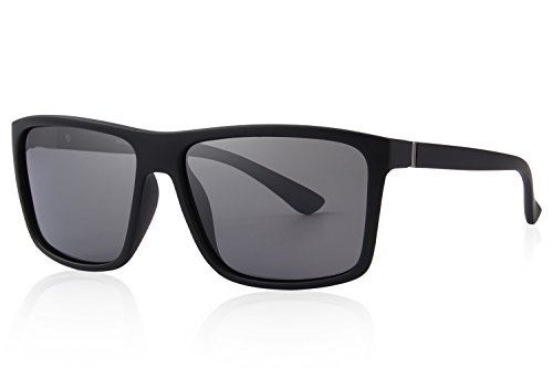 MERRY'S Men Polarized Sunglasses Fashion Male Sun glasses 100% UV Protection S8225 (Matte Black, 58)