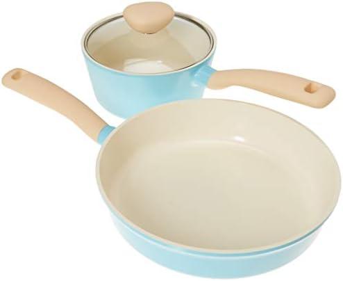 Retro 5-Piece Ceramic Non-Stick Cookware Set, Mint Blue