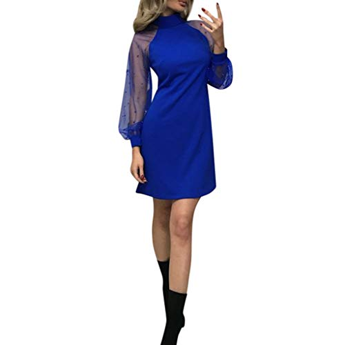 Baiggooswt Women's Velvet Tunic Dress with Embroidered Elegant Pearl Floral Mesh Bishop Sleeve - Sox Embroidered Leather