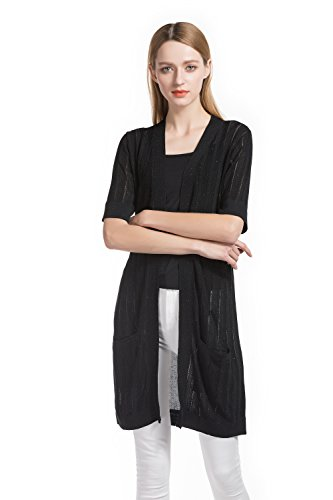 KNITBEST Women's Short Sleeve Open Front Cardigan With Pockets (Large, Black) (Sleeve Short Cardigan Long)