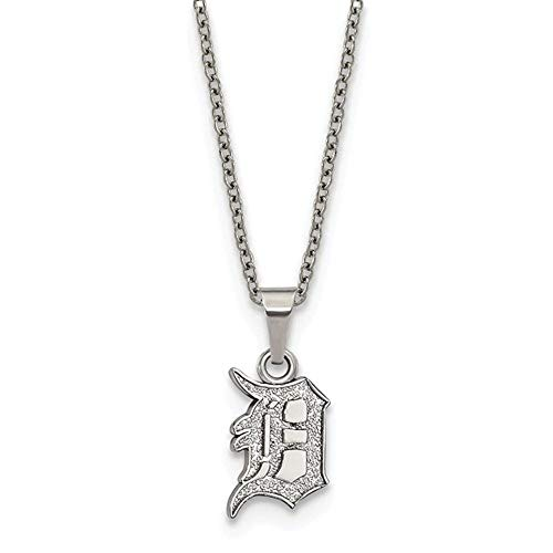 (MLB Detroit Tigers Stainless Steel Detroit Tigers Pendant on chain with 2 in ext Necklace Size One Size)