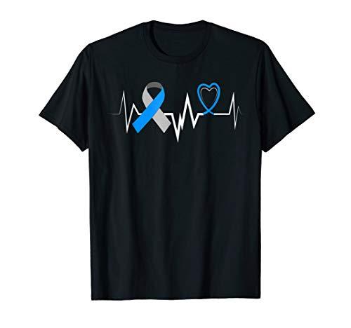 Heartbeat Blue Ribbon Diabetes Type 1 Awareness Shirt Women -