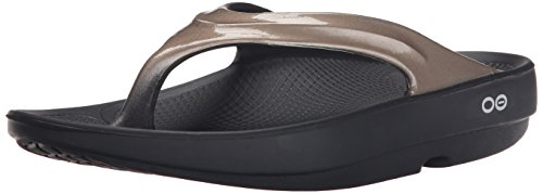 OOFOS Women's Oolala Thong Flip Flop, Black/Latte, 8 M US